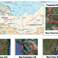 Tunguska blast area (1908) mapped out at the actual location and compared to major U.S. cities.