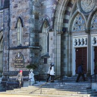 Guests Arrive at the Cathedral of the Holy Cross in Boston