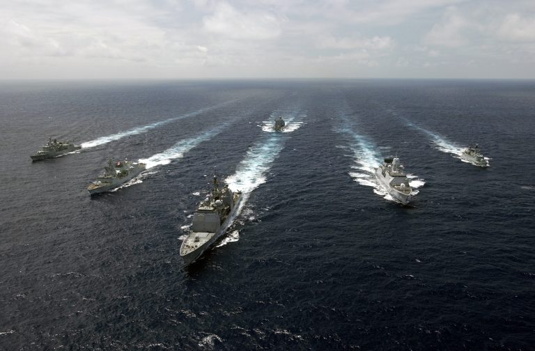 070813-N-5459S-543 ATLANTIC OCEAN (Aug. 13, 2007) - The ships of Standing NATO Maritime Group (SNMG) 1 transit in formation for a photo exercise. From left, Portuguese frigate NRP Alvares Cabral (F331), Canadian frigate HMCS Toronto (FFH 333), guided-missile cruiser USS Normandy (CG 60), German replenishment tanker FGS Spessart (A 1442), Dutch frigate HNLMS Evertsen (F805), and Danish corvette HDMS Olfert Fischer (F355). Normandy is flagship for SNMG-1, which is conducting NATOÕs first maritime out-of-area deployment by circumnavigating Africa. U.S. Navy photo by Mass Communication Specialist 3rd Class Vincent J. Street (RELEASED)