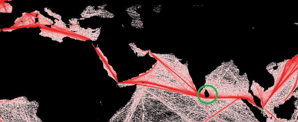 Trade routes, with Sri Lanka highlighted