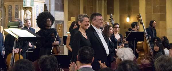Schiller Institute Chorus Directors Diane Sare and John Sigerson, post concert.