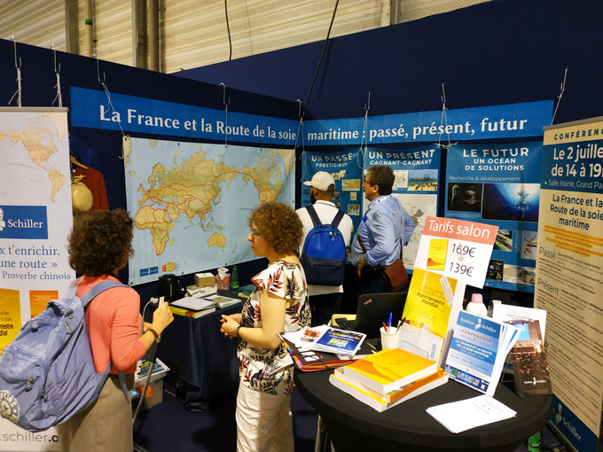 Schiller Institute booth at the La Mer XXL Exposition in Nantes, France on June 30, 2019.