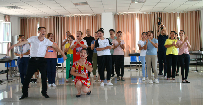 Dancing at Gaochang District vocational and training center (Turpan).