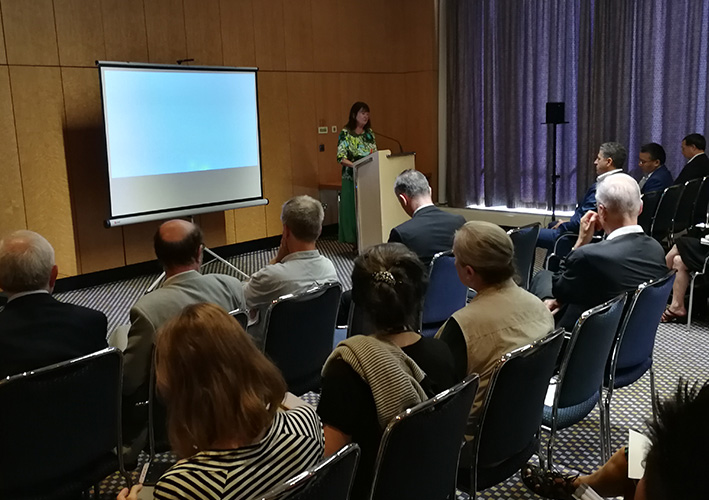 Founder of the international Schiller Institute, Helga Zepp-LaRouche, delivering her keynote address.