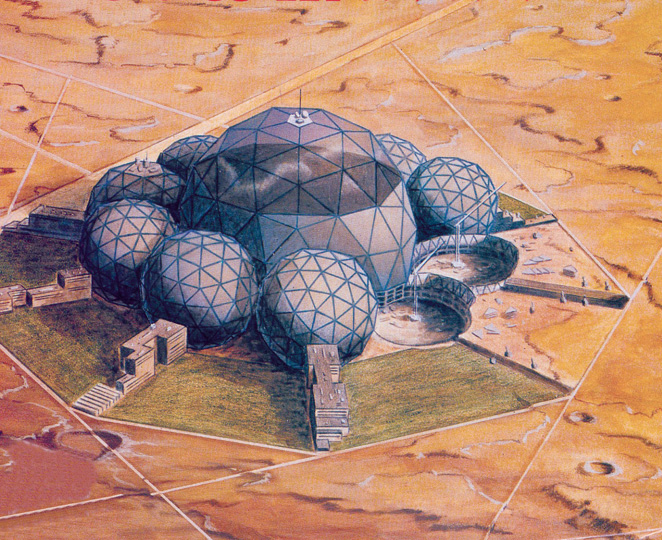 "A science city on Mars, as proposed by Lyndon LaRouche. In 1988, he wrote that ""If the United States follows the approach I have proposed, we shall have our first permanent colony on Mars by the year A.D. 2027. During a few years following that, that colony will grow into an increasingly self-sustained community, the size of a medium-sized city on Earth. Long before A.D. 2027, the average U.S. taxpayer will have gained an enormous personal profit from the earlier, preparatory stages of the program as a whole."" The development of new scientific breakthroughs and technologies allows us, uniquely among known species, to transform our relationship to nature by improving the productive powers of labor. This creative potential, common to all people, is the basis for international collaboration in space, science, and culture, to advance the common aims of mankind."