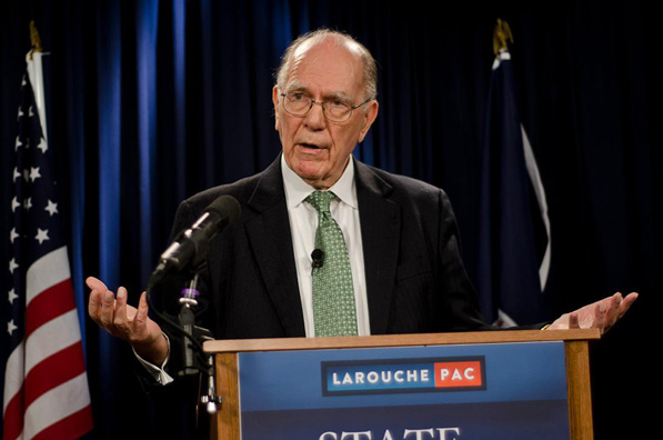 Lyndon LaRouche (1922-2019) speaking at a live webcast in 2010.