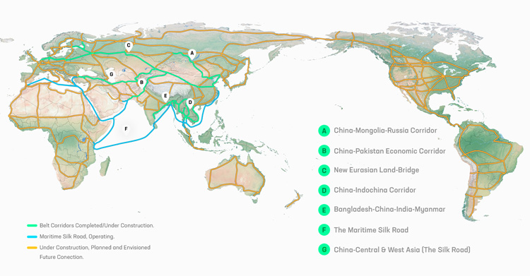 The 6 Corridors of the Economic Belt of the New Silk Road (A-F) and the Maritime Silk Road (F) which were announced by President Xi in 2013. The other global transcontinental corridors were envisioned by the Schiller Institute as early as 1992. Credit: Belt and Road Institute in Sweden (BRIX)